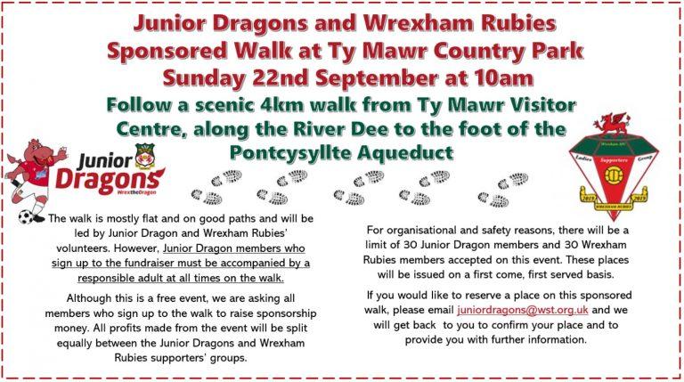 Junior Dragons and Wrexham Rubies Sponsored Walk